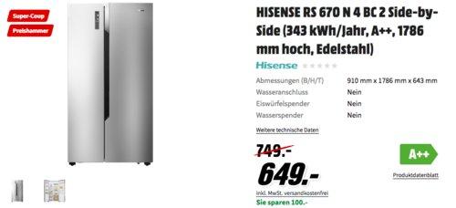 Hisense RS670N4BC2 Side-by-Side Kühl-Gefrierkombination - jetzt 6% billiger