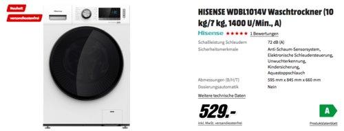HISENSE WDBL1014V Waschtrockner (10 kg/7 kg, 1400 U/Min., A)) - jetzt 12% billiger