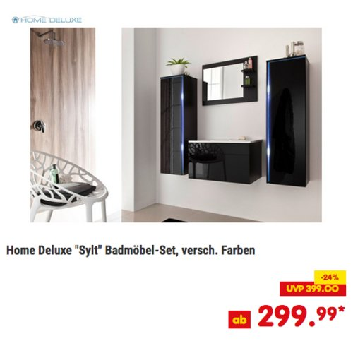 Home Deluxe Sylt Badmöbel-Set in Schwarz oder Weiß - jetzt 9% billiger