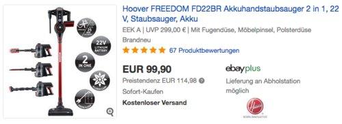 Hoover Freedom FD22BR 2 in 1 Akku - Staubsauger - jetzt 17% billiger
