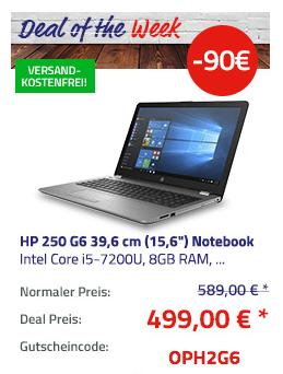 """HP 250 G6 39,6 cm (15,6"""") Notebook mit Intel Core i5-7200U, 8GB RAM, 256GB SSD, Full HD-Display und Win10 Pro - jetzt 15% billiger"""