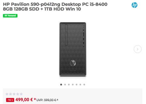 HP Pavilion 590-p0412ng Desktop PC (i5-8400, 8GB RAM, 128GB SDD + 1TB HDD, Win 10) - jetzt 17% billiger