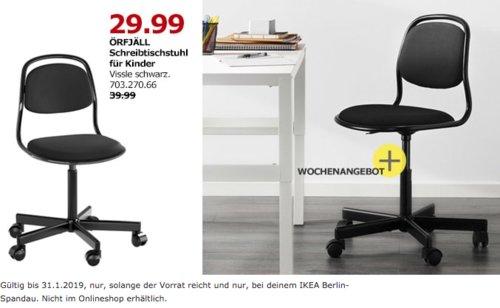 IKEA Berlin-Spandau - ÖRFJÄLL Schreibtischstuhl für Kinder, schwarz - jetzt 25% billiger