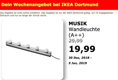 IKEA Dortmund - MUSIK Wandleuchte - jetzt 33% billiger