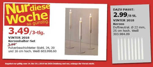 IKEA Duisburg - VINTER 2018 Kerzenhalter-Set, weiß - jetzt 42% billiger