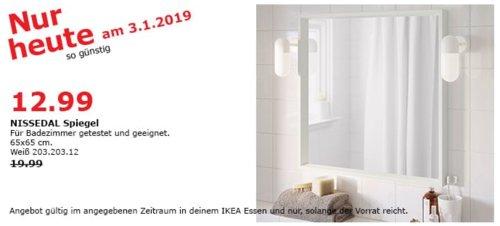 IKEA Essen - NISSEDAL Spiegel, 65x65 cm, weiß - jetzt 35% billiger