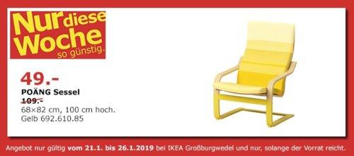 IKEA Großburgwedel  - POÄNG Sessel, gelb - jetzt 55% billiger