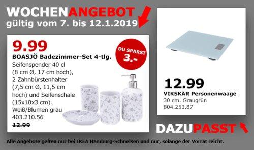 IKEA Hamburg-Schnelsen - BOASJÖ Badezimmer-Set 4-tlg, Weiß/Blumen grau - jetzt 23% billiger