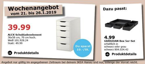 IKEA Hanau - ALEX Schubladenelement, weiß - jetzt 20% billiger
