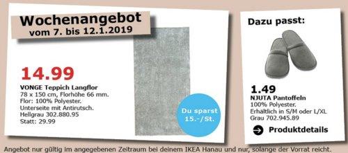 IKEA Hanau - VONGE Teppich Langflor, 78x150 cm - jetzt 50% billiger