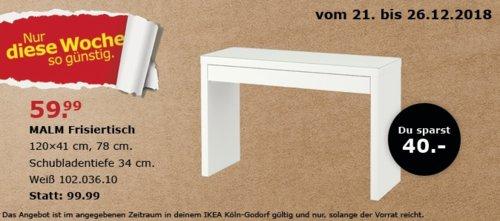 IKEA Köln-Godorf - MALM Frisiertisch,weiß - jetzt 40% billiger