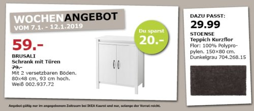 IKEA Kaarst - BRUSALI Schrank mit Türen, 80x48x93 cm, weiß - jetzt 25% billiger