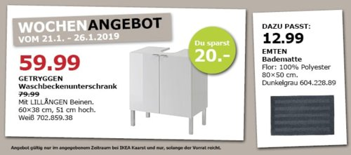 IKEA Kaarst - GETRYGGEN Waschbeckenunterschrank, weiß - jetzt 25% billiger