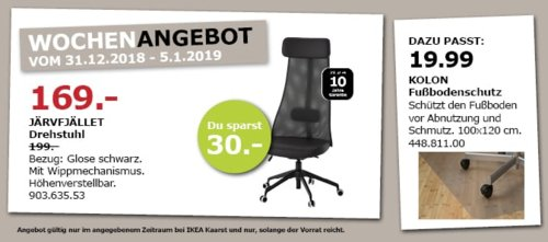 IKEA Kaarst - JÄRVFJÄLLET Drehstuhl, schwarz - jetzt 15% billiger