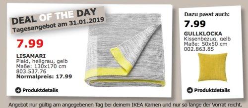 IKEA Kamen - LISAMARI Plaid, hellgrau - jetzt 56% billiger
