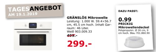 IKEA Siegen - GRÄNSLÖS Mikrowelle, weiß - jetzt 40% billiger