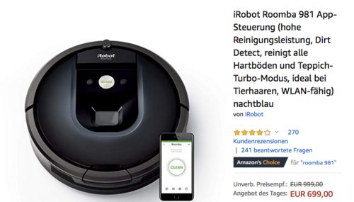 iRobot Roomba 981 Saugroboter in Nachtblau - jetzt 11% billiger