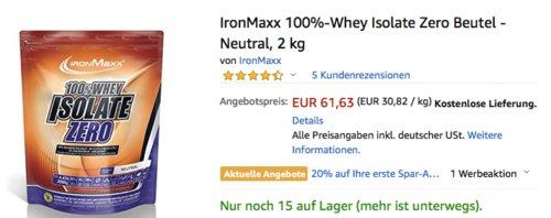 IronMaxx 100%-Whey Isolate Zero 2 kg Beutel - Neutral - jetzt 11% billiger