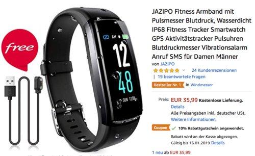 JAZIPO Fitness Armband mit Pulsmesser, Aktivitätstracker mit  Blutdruckmesser - jetzt 10% billiger