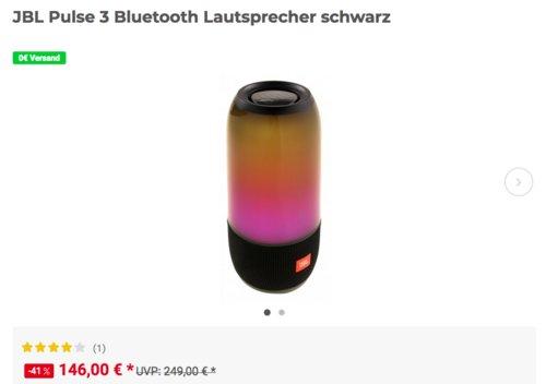 JBL Pulse 3 Bluetooth Lautsprecher mit Lichtshow, schwarz - jetzt 11% billiger