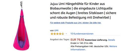 Jujuu Umi Hängehöhle für Kinder aus Biobaumwolle - jetzt 20% billiger