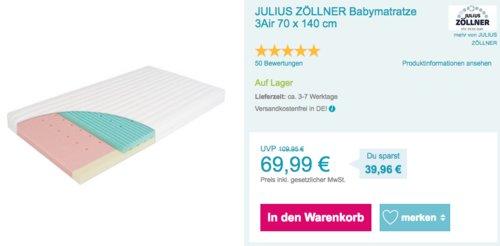 JULIUS ZÖLLNER Babymatratze 3Air 70 x 140 cm - jetzt 20% billiger