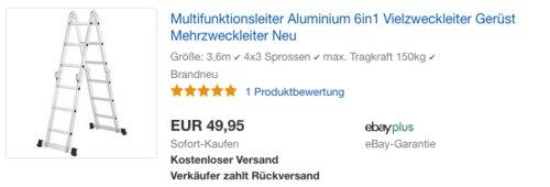 Juskys Aluminium 6in1 Multifunktionsleiter 3,6m - jetzt 15% billiger