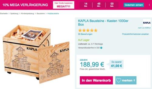 KAPLA Bausteine - Kasten 1000er Box - jetzt 17% billiger