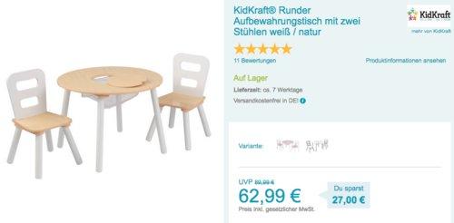 KidKraft® Runder Aufbewahrungstisch mit zwei Stühlen - jetzt 17% billiger
