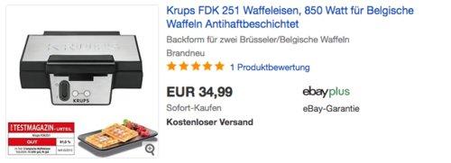 Krups FDK 251 Waffeleisen für Belgische Waffeln - jetzt 10% billiger