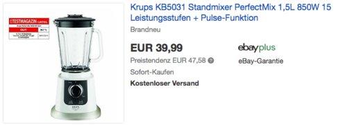 Krups KB5031 Standmixer, 850W, 1,5L - jetzt 27% billiger
