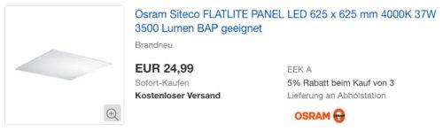 LED-Panel OSRAM FLATLINE Siteco 0MQ411724W1, 625x625 mm, 3500 lm - jetzt 37% billiger