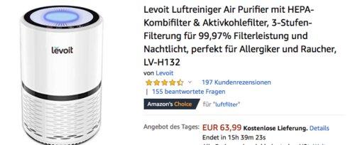 Levoit LV-H132 Luftreiniger Air Purifier mit HEPA-Kombifilter, weiß - jetzt 21% billiger