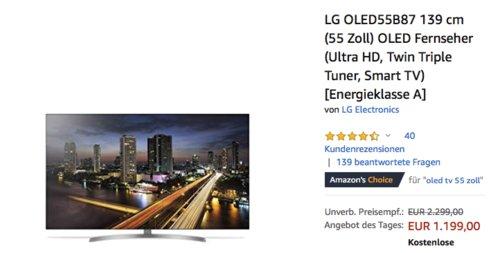 LG OLED55B87 139 cm (55 Zoll) OLED Fernseher - jetzt 14% billiger