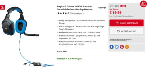 Logitech G430 Gaming-Headset - jetzt 19% billiger