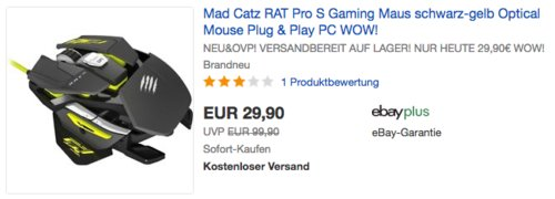 Mad Catz RAT Pro S Gaming Maus, schwarz-gelb - jetzt 20% billiger
