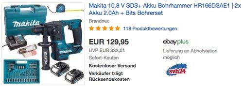 Makita 10.8 V SDS+ Akku Bohrhammer HR166DSAE1 Set (inkl. 2x Akku 2.0Ah, Bits Bohrerset, Koffer) - jetzt 18% billiger