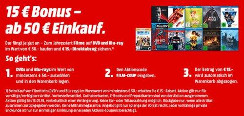MediaMarkt: 15 € Rabatt auf DVD's und Blu-rays ab 50€ Einkaufswert - jetzt 28% billiger