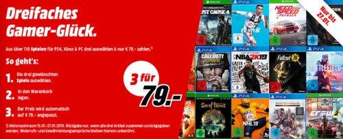 MediaMarkt: 3 Spiele (PS4, Xbox, PC, Nintendo) für 79€ - Aktion - jetzt 15% billiger