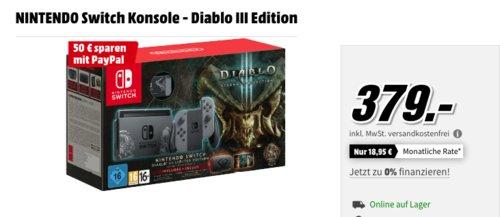 MediaMarkt  - bis zu 150€ Rabatt bei Zahlung mit Paypal: z.B. NINTENDO Switch Konsole - Diablo III Edition - jetzt 13% billiger