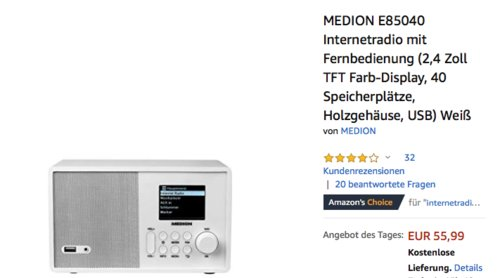 MEDION E85040 Internetradio - jetzt 20% billiger
