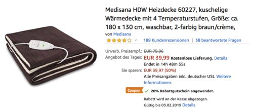 Medisana HDW Heizdecke 60227, 180 x 130 cm - jetzt 32% billiger
