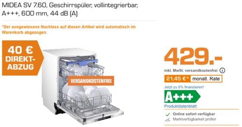 MIDEA SV 7.60 vollintegrierbarer Geschirrspüler, A+++, 600 mm - jetzt 9% billiger