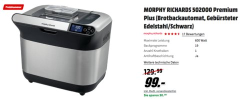 MORPHY RICHARDS 502000 Premium Plus Brotbackautomat, schwarz - jetzt 23% billiger