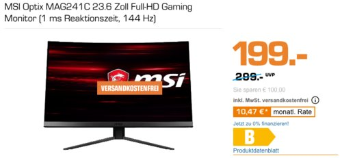 MSI Optix MAG241C 23.6 Zoll Full-HD Gaming Curved-Monitor (1 ms, 144 Hz) - jetzt 14% billiger