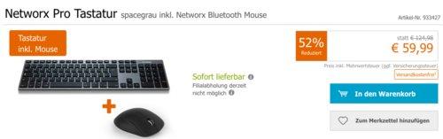 Networx Pro Tastatur spacegrau inkl. Networx Bluetooth Mouse - jetzt 44% billiger