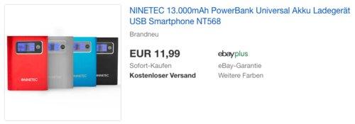 NINETEC NT-568 13.000mAh PowerBank - jetzt 60% billiger