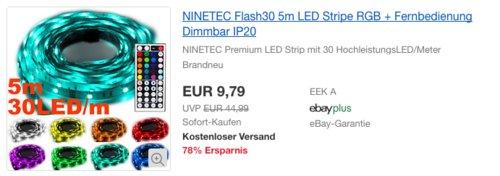 NINETEC RGB Flash30 5m LED Stripe inkl. Fernbedienung - jetzt 61% billiger