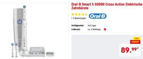 Oral-B Smart 5 5000N Cross Action Elektrische Zahnbürste mit Bluetoothfunktion und Druckkontrolle - jetzt 10% billiger