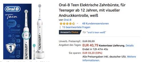 Oral-B Teen Elektrische Zahnbürste für Teenager ab 12 Jahren - jetzt 13% billiger